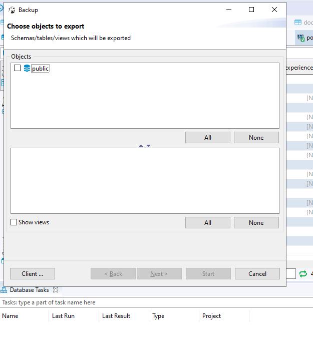 A Backup window will open