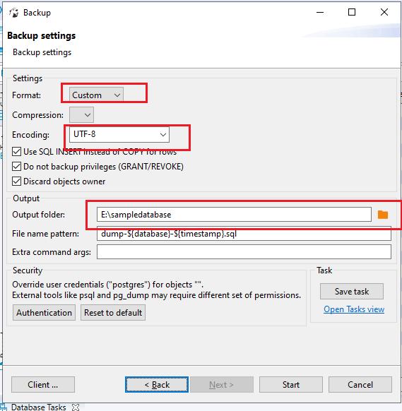 A backup settings window will open